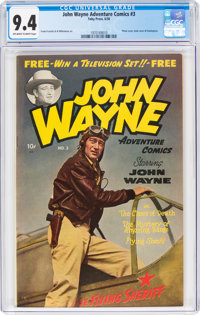 John Wayne Adventure Comics #3 (Toby Publishing, 1950) CGC NM 9.4 Off-white to white pages