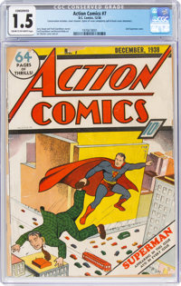Action Comics #7 (DC, 1938) CGC Conserved FR/GD 1.5 Cream to off-white pages