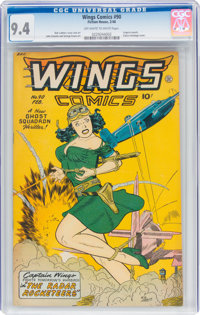 Wings Comics #90 (Fiction House, 1948) CGC NM 9.4 Off-white to white pages