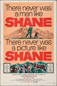 """Shane & Other (Paramount, R-1966). Folded, Fine. One Sheets (2) (27"""" X 41""""). Western. ... (Total: 2 It..."""