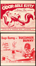"Movie Posters:Animation, Buccaneer Bunny & Other Lot (Warner Bros., 1948). Very Fine-. Snipes (4) (Approx. 7.75"" X 8.5""). From the collection of Le... (Total: 4 Items)"