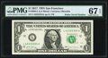 Radar Serial 42333324 Fr. 3004-L $1 2017 Federal Reserve Note. PMG Superb Gem Unc 67 EPQ