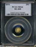 California Fractional Gold: , 1870 25C Liberty Round 25 Cents, BG-808, R.3, MS66 PCGS. ...