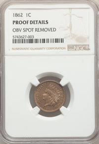 1862 1C -- Obverse Spot Removed -- NGC Details. Proof. NGC Census: (0/233). PCGS Population: (1/308). PR60. Mintage 550...