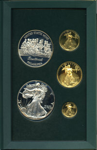 1993 SET Five-Piece Philadelphia American Eagle and Medal Proof Set, Uncertified. Includes: $5 tenth-ounce, $10 quarter-...