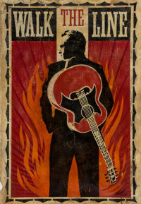 Shepard Fairey (b. 1970) Walk The Line, 2005 Aerosol and collage on paper 44 x 30-1/4 inches (111