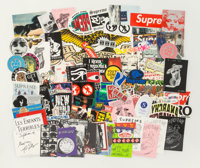 Supreme Group of 90 stickers, n.d. Digital prints on adhesive sticker 7 x 19 inches (17.8 x 48.3