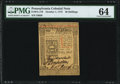 Pennsylvania October 1, 1773 50s PMG Choice Uncirculated 64