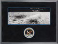 Explorers:Space Exploration, Buzz Aldrin Signed Apollo 11 Lunar Surface Panorama in Framed Display by Novaspace with Embroidered Mission Insignia Patch, wi...
