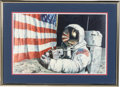 """Explorers:Space Exploration, Alan Bean Signed Limited Edition, #99/550, """"Straightening our Stripes"""" Lithograph in Framed Display...."""