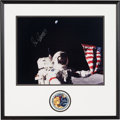 Explorers:Space Exploration, Gene Cernan Signed Large Apollo 17 Lunar Surface Flag Color Photo in Framed Display by Novagraphics with Embroidered Mission I...