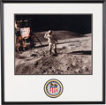 Explorers:Space Exploration, Charlie Duke Signed Large Apollo 16 Lunar Surface Flag Salute Color Photo in Framed Display by Novagraphics with Embroidered M...