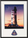 Explorers:Space Exploration, James Lovell Signed Large Apollo 8 Launch Pad at Dawn Color Photo in Framed Display by Novagraphics with an Embroidered Missio...