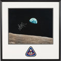 "Explorers:Space Exploration, James Lovell Signed Large Apollo 8 ""Earthrise"" Color Photo in Framed Display by Novagraphics with an Embroidered Mission Insig..."