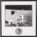 Explorers:Space Exploration, Charles Conrad Signed Large Apollo 12 Lunar Surface Photo in Framed Display by Novagraphics with Embroidered Mission Insignia ...