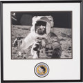 Explorers:Space Exploration, Alan Bean Signed Large Apollo 12 Lunar Surface Photo in Framed Display by Novagraphics with Embroidered Mission Insignia Patch...