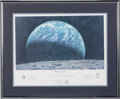 "Explorers:Space Exploration, Alan Bean Signed ""Kissing the Earth"" Limited Edition, #99/650, Color Print, also Signed by Charles Conrad and Richard Gordon, ..."