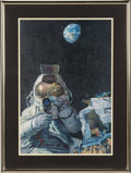 """Explorers:Space Exploration, Alan Bean Signed Limited Edition, #99/550, """"Moon Rovers"""" Print in Framed Display. ..."""
