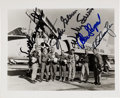 Explorers:Space Exploration, Mercury Seven: Jumpsuits in Front of F-106 Photo Signed by Six (Missing Grissom)....