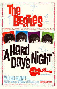 "A Hard Day's Night (United Artists, 1964). Very Fine on Linen. One Sheet (27"" X 41.5"")"
