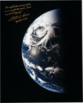 Explorers:Space Exploration, Fred Haise Signed Large Apollo 13 Color Photo of Earth....