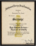 Movie/TV Memorabilia:Documents, Golden Globe Nomination Certificate for Scrooge (1970). ...