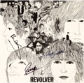 Music Memorabilia:Autographs and Signed Items, The Beatles Revolver Stereo Vinyl LP Signed By Paul McCartney, Ringo Starr, and George Harrison (EMI, PCS 7009, 19...
