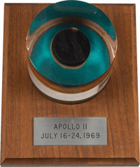 Apollo 11 Flown Large Ablative Plug in Lucite Display on Wooden Base Directly From The Armstrong Family Collection™, CAG...