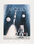 "Explorers:Space Exploration, Robert L. Rasmussen Signed Limited Edition ""Apollo: Navy to the Moon"" Print, #12/250, Signed by Four Naval Astronauts, Directl..."