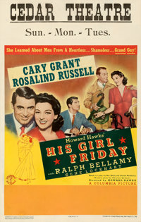 """His Girl Friday (Columbia, 1940). Fine/Very Fine on Cardstock. Window Card (14"""" X 22"""")"""