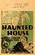 "Movie Posters:Horror, The Haunted House (First National, 1928). Fine+ on Cardstock. Window Card (14"" X 22"").. ..."