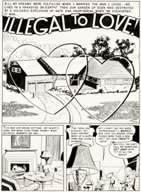 """Wally Wood and Harry Harrison Modern Love #8 Complete 6-Page Story """"Illegal to Love!"""" Original Art (EC, 1950)..."""