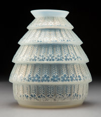 R. Lalique Ferrières Opalescent Clear and Frosted Glass Vase, circa 1929 Marks: <