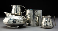 Four Tudric for Liberty & Co. Pewter Table Articles, circa 1920 Marks: (various) 3-3/4 inches (9.5 cm) (tallest