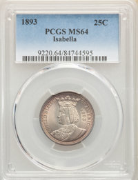 1893 25C Isabella Quarter MS64 PCGS. PCGS Population: (1325/824). NGC Census: (1022/623). MS64. Mintage 24,214