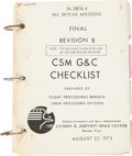 """Explorers:Space Exploration, Skylab II (SL-3) / III (SL-4) Training-Used NASA Final Revision B """"CSM G&C Checklist"""" Book with Separate """"Cue Cards"""" Directly ..."""
