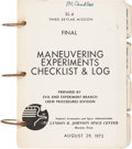 """Explorers:Space Exploration, Skylab III (SL-4) Training-Used NASA Final """"Maneuvering Experiments Checklist & Log"""" Book Directly from the Personal Colle..."""