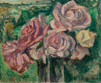 Achille Emile Othon Friesz (French, 1879-1949) Roses Oil on canvas 13 x 16-1/8 inches (33.2 x 41
