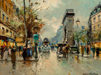 Antoine Blanchard (French, 1910-1988) Porte St. Martin Oil on canvas 13 x 18 inches (33.0 x 45.7