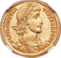 Ancients:Roman Imperial, Ancients: Constantius II, as Augustus (AD 337-361). AV solidus (21mm, 4.46 gm, 5h). NGC MS 5/5 - 3/5....