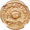 Ancients:Byzantine, Ancients: Maurice Tiberius (AD 582-602). AV solidus (18mm, 4.49 gm, 7h). NGC MS 5/5 - 4/5....