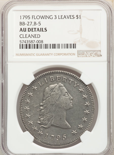 1795 S$1 Flowing Hair, Three Leaves 50 Details NGC