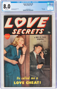 Love Secrets #2 (Quality, 1950) CGC VF 8.0 White pages