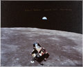"Explorers:Space Exploration, Michael Collins Signed Large Apollo 11 ""Earthrise"" Color Photo on Canvas...."
