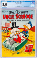 Golden Age (1938-1955):Cartoon Character, Four Color #386 Uncle Scrooge (Dell, 1952) CGC VF 8.0 White pages....