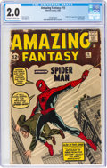 Silver Age (1956-1969):Superhero, Amazing Fantasy #15 (Marvel, 1962) CGC GD 2.0 Off-white to white pages....