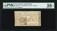 New Jersey December 31, 1763 18d PMG Choice About Unc 58 EPQ