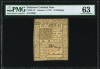 Delaware January 1, 1776 10s PMG Choice Uncirculated 63