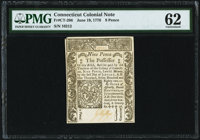 Connecticut June 19, 1776 9d PMG Uncirculated 62