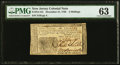 Colonial Notes:New Jersey, New Jersey December 31, 1763 3s PMG Choice Uncirculated 63.. ...